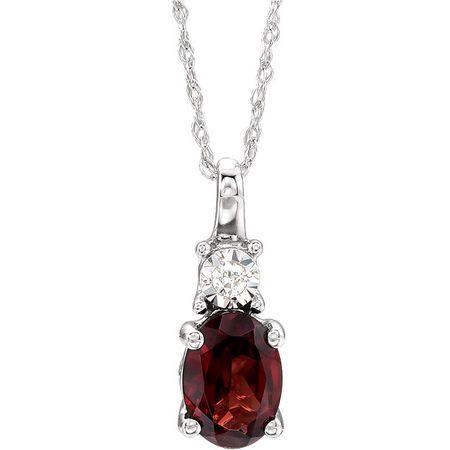 Buy 14 Karat White Gold Mozambique Garnet & .02Carat Diamond 18