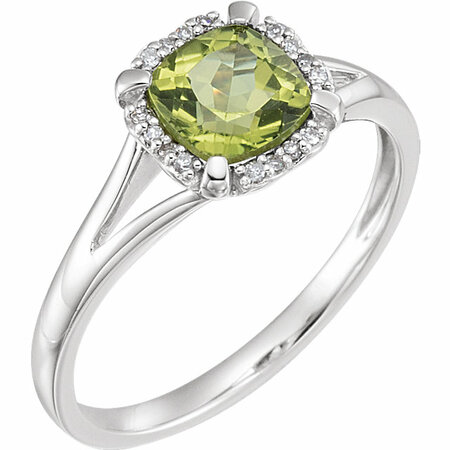 Genuine 14 Karat White Gold Peridot & .05 Carat Diamond Ring