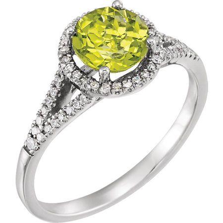 14 Karat White Gold Peridot & 0.20 Carat Diamond Ring