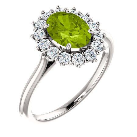 14 Karat White Gold Peridot & 0.40 Carat Diamond Ring