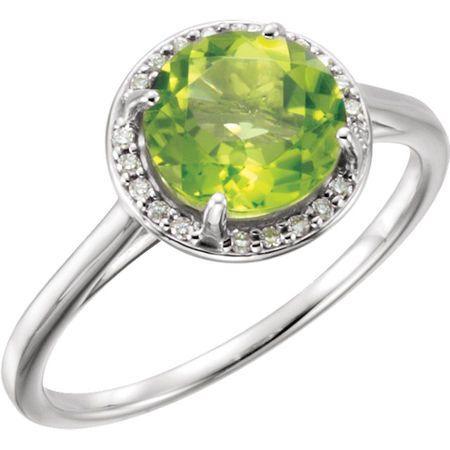 14 Karat White Gold Peridot and .05Carat Diamond Ring