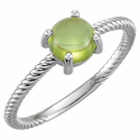 Shop 14 Karat White Gold Peridot Cabochon Ring