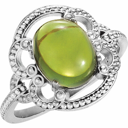 Buy 14 Karat White Gold Peridot Granulated Design Ring