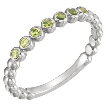 Genuine Peridot Ring in 14 Karat White Gold Peridot Stackable Ring