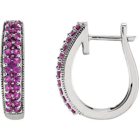Genuine Sapphire Earrings in 14 Karat White Gold Pink Sapphire Hoop Earrings
