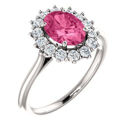 Shop 14 Karat White Gold Pink Tourmaline & 0.40 Carat Diamond Ring