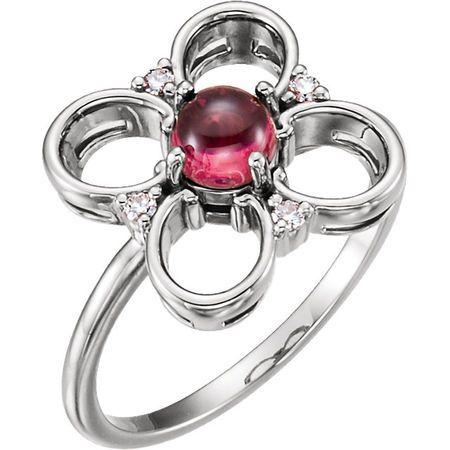 14 Karat White Gold Pink Tourmaline & Diamond Clover Ring