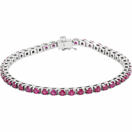 14 Karat White Gold Ruby Line Bracelet