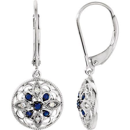 Created Sapphire Earrings in 14 Karat White Gold Sapphire & .07 Carat Diamond Earrings