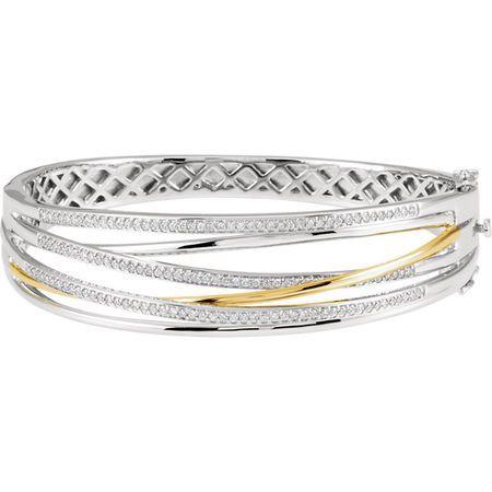 White Diamond Bracelet in 14 Karat White & Yellow Gold 1 Carat Diamond 8