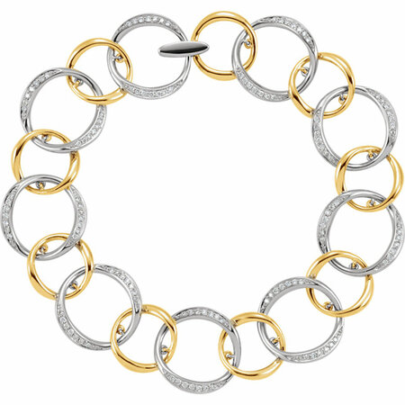 Nice 14 KT White & Yellow Gold 3/4 Carat TW Round Genuine Diamond Link Bracelet