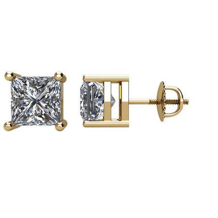 White Diamond Earrings in 14 Karat Yellow Gold 0.50 Carat Diamond Earrings