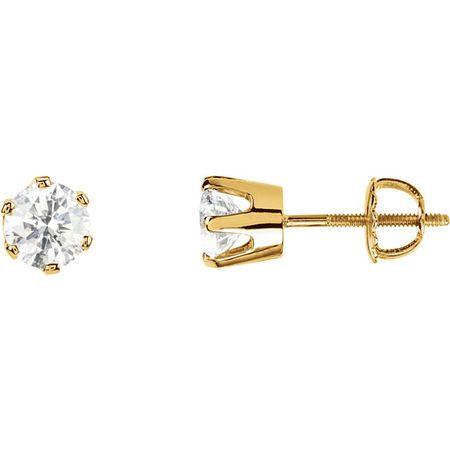 White Diamond Earrings in 14 Karat Yellow Gold 0.50 Carat Diamond Threaded Post Stud Earrings