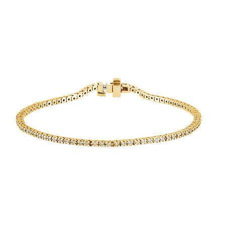 Genuine 14 Karat Yellow Gold 1 Carat Diamond Line 7.25