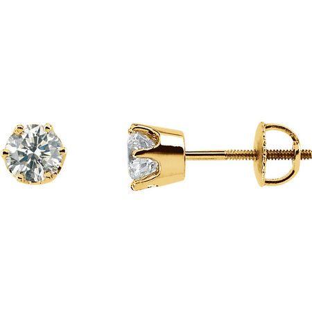 White Diamond Earrings in 14 Karat Yellow Gold 1 Carat Diamond Threaded Post Stud Earrings