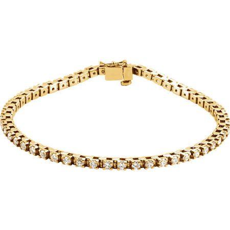 White Diamond Bracelet in 14 Karat Yellow Gold 2 0.12 Carat Diamond 7