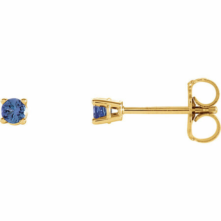 14 Karat Yellow Gold 2.5mm Round Blue Tanzanite Earrings