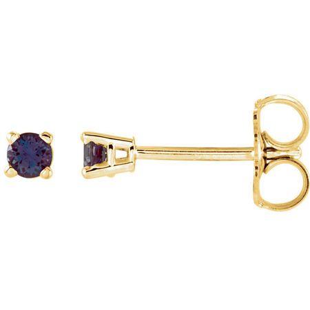 14 Karat Yellow Gold 2.5mm Round Genuine Chatham Alexandrite Earrings
