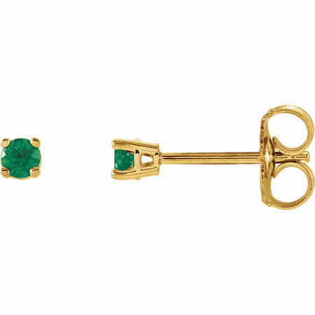 Shop 14 Karat Yellow Gold 2.5mm Round Emerald Earrings