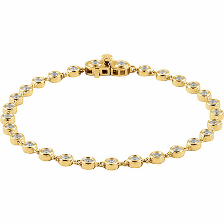 White Diamond Bracelet in 14 Karat Yellow Gold 2 Carat Diamond Bezel Line 7