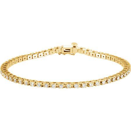 White Diamond Bracelet in 14 Karat Yellow Gold 2 Carat Diamond 7.25