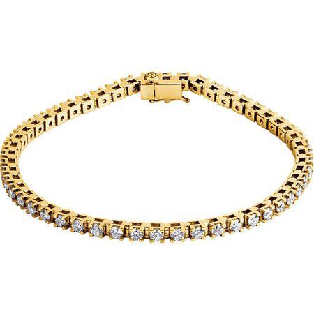 Genuine  14 Karat Yellow Gold 0.50 Carat Diamond Line 7.25