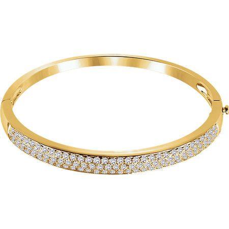 Genuine  14 Karat Yellow Gold 3 Carat Diamond Pave' Bracelet