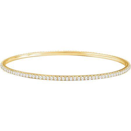 14 Karat Yellow Gold 3 Carat Round Genuine Diamond Stackable Bangle Bracelet