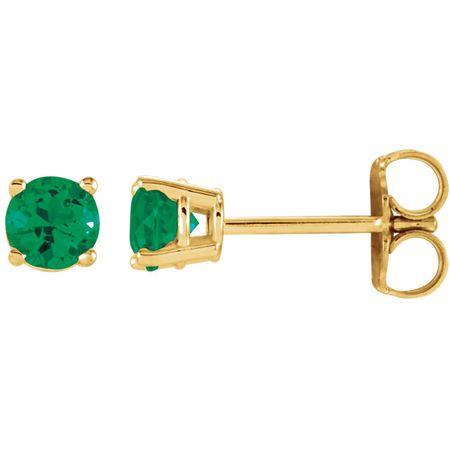 Shop 14 Karat Yellow Gold 4mm Round Emerald Earrings
