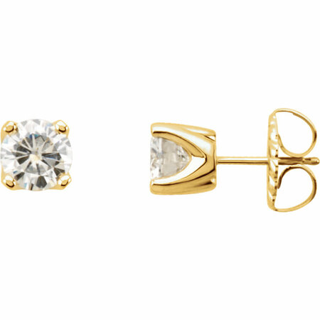 14 KT Yellow Gold 4mm Round Forever Classic Moissanite 4-Prong Stud Earrings