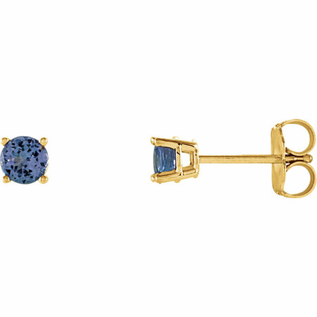 Buy 14 Karat Yellow Gold 4mm Round Tanzanite Earrings