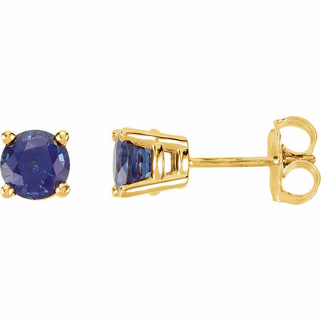 Genuine 14 Karat Yellow Gold 5mm Round Genuine Chatham Blue Sapphire Post Stud Earrings