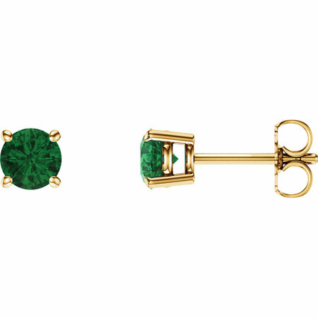 14 Karat Yellow Gold 5mm Round Emerald Earrings