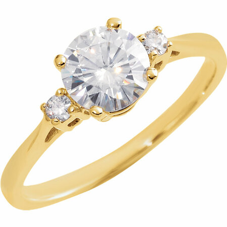 14 KT Yellow Gold 6.5mm Round Forever Classic Moissanite Accented Engagement Ring