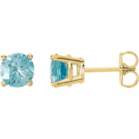 Buy 14 Karat Yellow Gold 6mm Round Blue Zircon Post Stud Earrings
