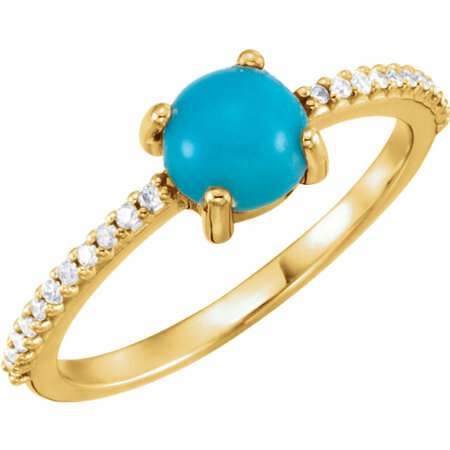 Genuine Turquoise Ring in 14 Karat Yellow Gold 6mm Round Cabochon Turquoise & 0.12 Carat Diamond Ring