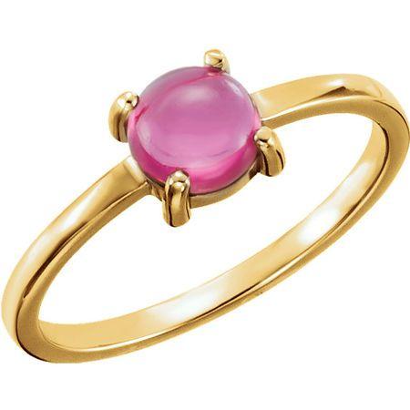 14 Karat Yellow Gold 6mm Round Pink Tourmaline Cabochon Ring