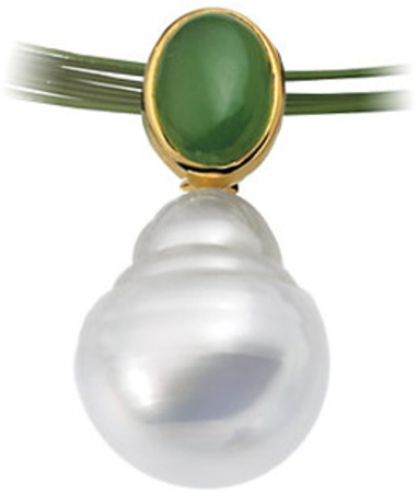 14 KT Yellow Gold 8x6mm Oval Nephrite Jade Semi-set Pendant for Pearl