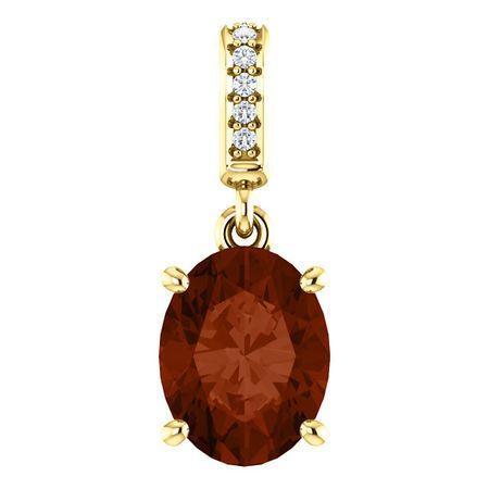 Buy 14 Karat Yellow Gold 9x7mm Mozambique Garnet & .03 Carat Diamond Pendant