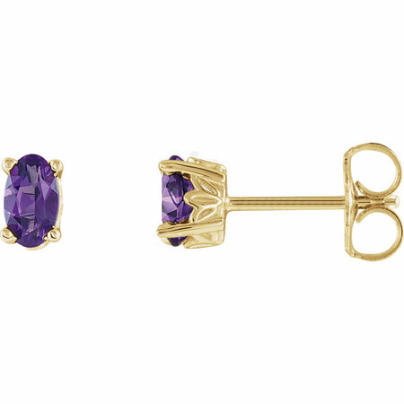 Lovely 14 Karat Yellow Gold Oval Genuine Amethyst Earrings