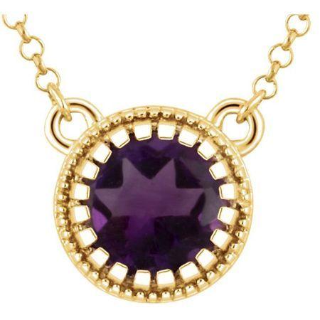 Genuine Amethyst Necklace in 14 Karat Yellow Gold Amethyst