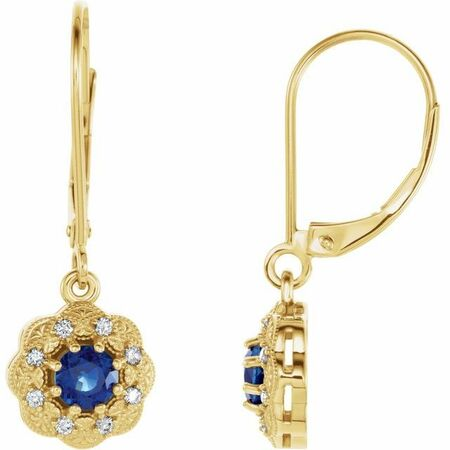 Genuine Sapphire Earrings in 14 Karat Yellow Gold Genuine Sapphire & 1/8 Carat Diamond Halo-Style Earrings
