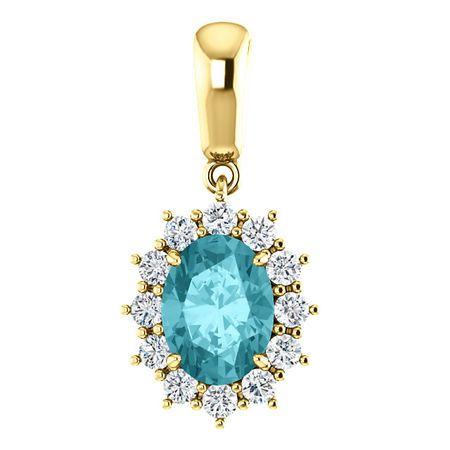 14 Karat Yellow Gold Blue Zircon & 0.33 Carat Diamond Pendant