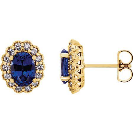 Shop 14 Karat Yellow Gold Genuine Chatham Blue Sapphire & 0.40 Carat Diamond Earrings
