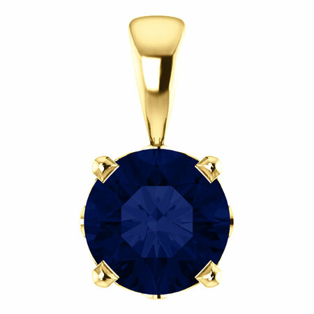 14 Karat Yellow Gold Chatham Round Blue Sapphire Scroll Setting Pendant