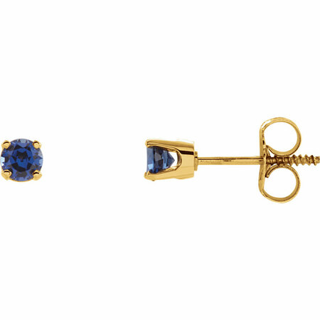 14 Karat Yellow Gold Genuine Chatham Lab-Blue Sapphire Earrings