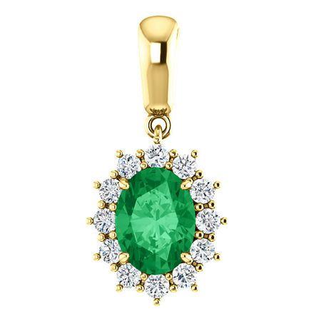 14 Karat Yellow Gold Genuine Chatham Emerald & 0.33 Carat Diamond Pendant