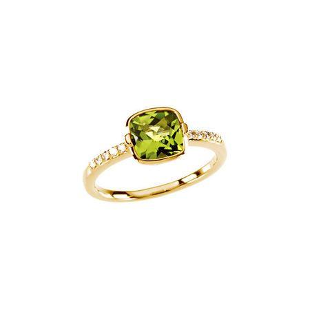 Genuine Peridot Ring in 14 Karat Yellow Gold Checkerboard Peridot & 0.10 Carat Diamond Ring Size 7