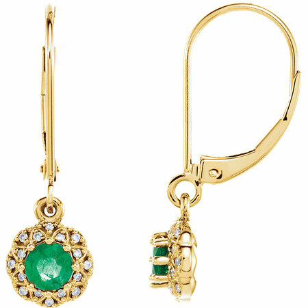 Genuine 14 Karat Yellow Gold Emerald & .08 Carat Diamond Earrings