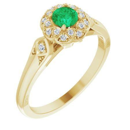 Genuine Emerald Ring in 14 Karat Yellow Gold Emerald & 0.10 Carat Diamond Ring